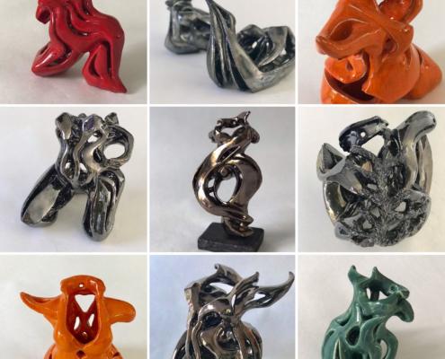 Julie Espiau Sculptures - présentations des sculptures Sirènes, Naïades , Elégantes marines et Symboliques