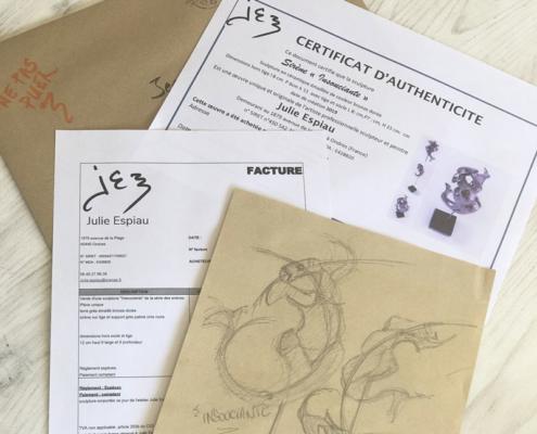 Certificat et dessin Julie Espiau