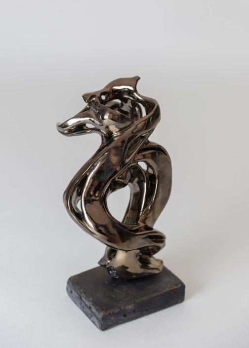 Julie Espiau Sculptures céramiques émaillées Naïade Musicalité Couleur Email Bronze doré à effets Thème Musique Toulouse France