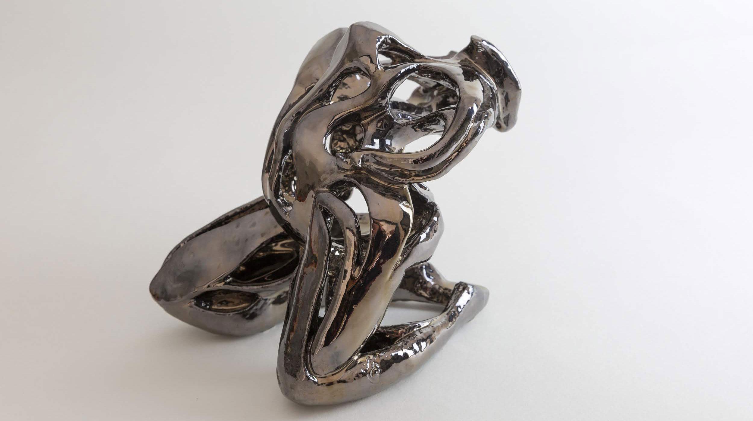 """Julie Espiau Sculptures - Naïade """"Volupté"""" Céramique émaillée chrome avec effets"""