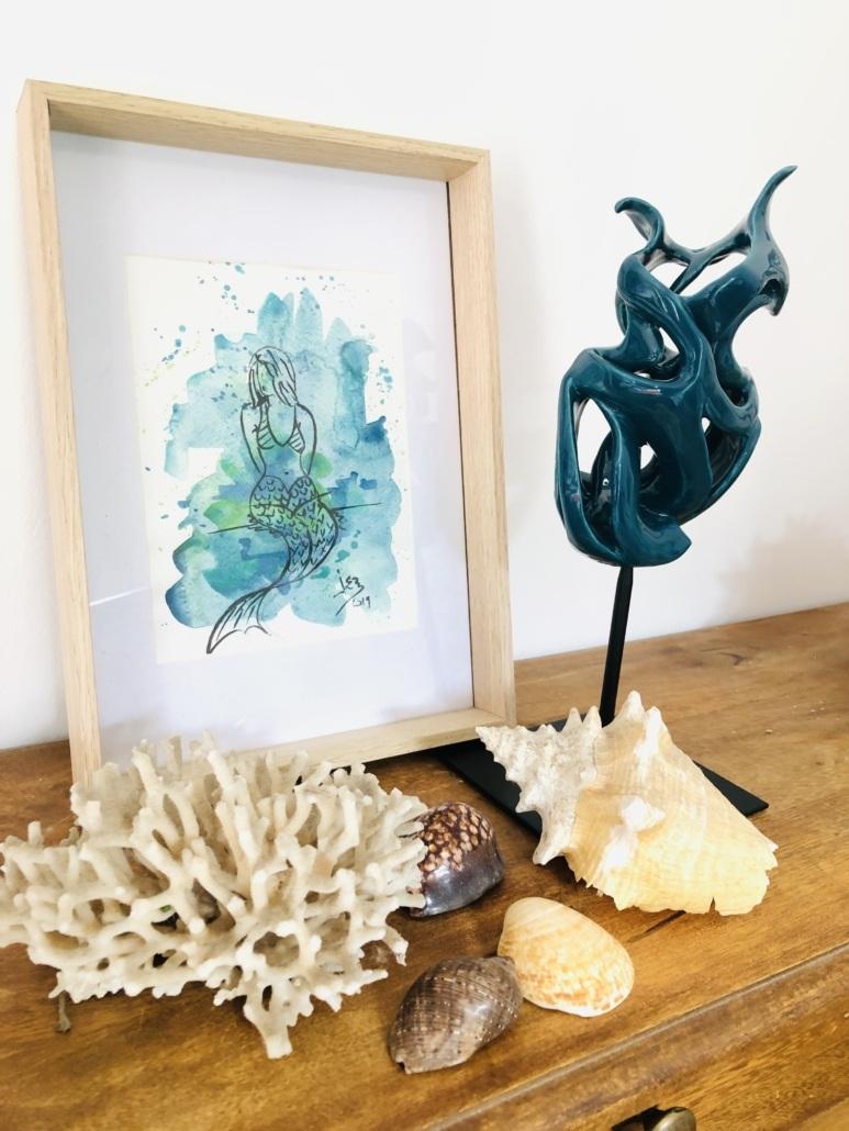 Volute océane Bellamarine Julie Espiau Sculpture céramique contemporaine émail émeraude décoration bord de mer