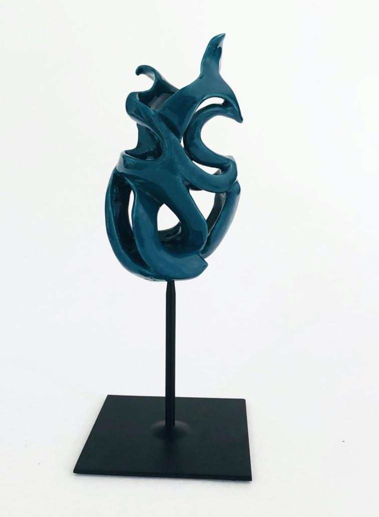 Volute océane Bellamarine Julie Espiau Sculpture céramique contemporaine émail émeraude